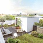 Schön eingerichtete Dachterrasse am Kunstpark
